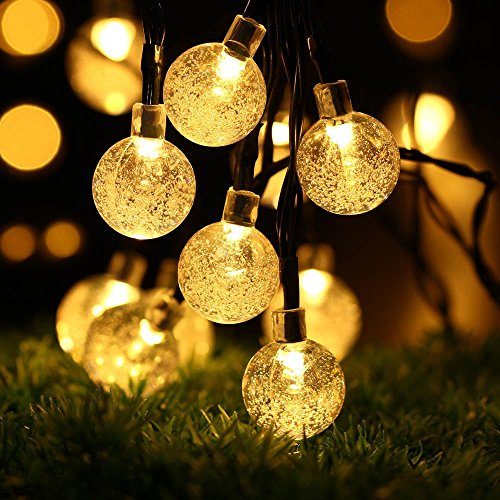 Solar Outdoor String Lights, easyDecor Ball 30 LED 8 Modes 21ft Warm White Decorative Christmas Fairy Globe Light Strings for Party, Indoor Decor, ...