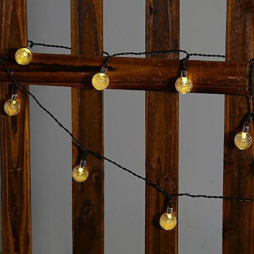 solar outdoor string lights easydecor ball 30 led 8 modes 21ft warm w. Black Bedroom Furniture Sets. Home Design Ideas